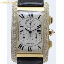 Cartier カルティエ タンクアメリカンYG ベゼルダイヤ クロノリフレックス WB702151