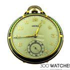 Vulcain 18k Yellow Gold Enamel Art Deco Pocket Watch