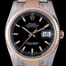 Rolex [NEW] Datejust 36 Steel Everose Gold Black Dial Index...