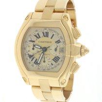 Cartier Roadster Chrono 18K Yellow Gold XL Roman Dial Watch...
