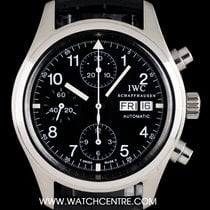 IWC Stainless Steel Black Dial Flieger Pilot Chronograph IW3706