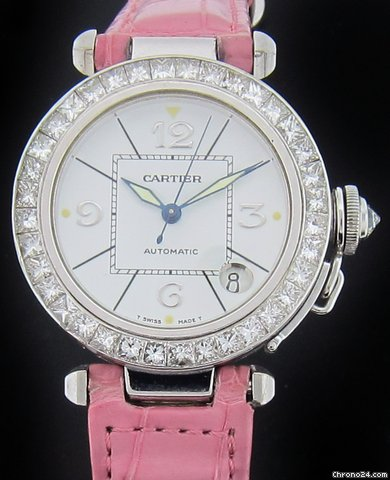 Cartier White Gold Pasha Baguette Diamond Watch