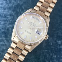 Rolex Yellow Gold Day-Date Bark Baguette Diamond Watch Ref. 18248