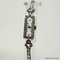 Wakmann PLATINUM 10% IRIDIUM 1920's LADES DIAMOND COCKTAIL...