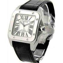 Cartier W20073X8 Santos 100 - Large Size in Steel - On Black...