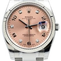 Rolex Oyster Perpetual 115234-PNKDFO 34mm Pink Diamond Arabic...