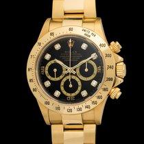 Rolex Vintage Daytona 16528 18kt black diamonds dial