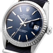 Rolex SS 36mm Datejust Military Blue on NATO Strap 1601 non-quick