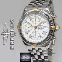 Breitling Crosswind Chronograph 18k Gold/Steel White Dial Mens...