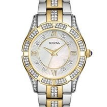 Bulova Ladies Crystal Two-Tone Sport Watch - White Mother-of-P...