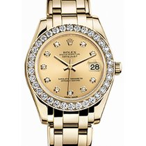 Rolex Pearlmaster 34 81298 Champagne Diamond Bezel Yellow Gold