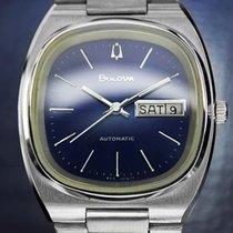 Bulova Blue Day Date Automatic Double Quickset 1980s Swiss...