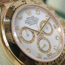 Rolex Daytona 116518 Mens Yellow Gold White Diamond Dial Brown...