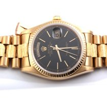 Rolex Mens 18K Yellow Gold Bark Day-Date President - Black Dial