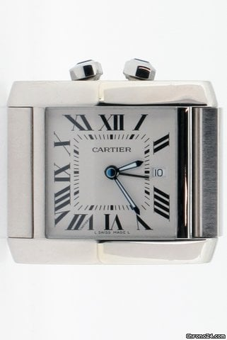 Cartier Tank Francaise Travel Alarm Clock. Model No W0100060