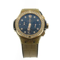 Hublot Big Bang Gold Linen Natural Gold Black Diamond Dial...