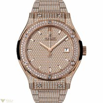 Hublot Classic Fusion King Gold Bracelet Full Pave Men's...