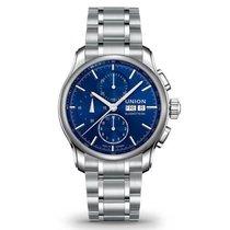 Union Glashütte Viro Chronograph blau, Metallband