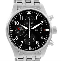 IWC Pilot Black Dial Chronograph Mens Watch Iw377704 Box Papers