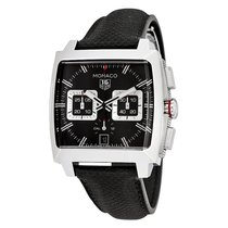 TAG Heuer Monaco Automatic Chronograph Black Leather Mens...
