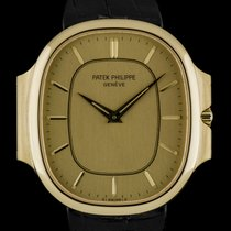 Patek Philippe 18k Yellow Gold Champagne Baton Dial Ellipse...