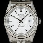 Rolex S/S Oyster Perpetual White Baton Dial Datejust Gents 16234