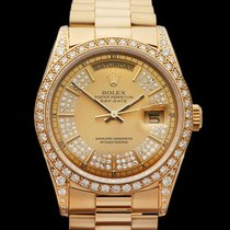 Rolex Day-Date Champagne Diamond Burst 18k Yellow Gold Gents...