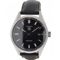 TAG Heuer Carrera WV211B-3 Stainless Steel Black Leather Strap...