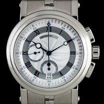 Breguet 18k W/Gold Silver Dial Marine Chronograph B&P...