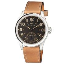 Glycine KMU Black Dial Tan Leather Men's Hand Wound Watch