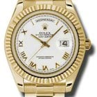 Rolex Day-Date II White Roman Dial Yellow Gold President 218238