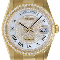 Rolex President Day-Date Mother of Pearl Pave Roman Men's...