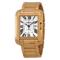 Cartier Tank Anglaise Silver Dial 18kt Rose Gold Ladies Watch...