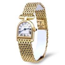 Cartier Calandre Vintage Lady Watch Yellow Gold Roman Dial 18 krt