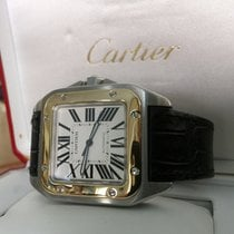 Cartier Santos 100 XL Gold Steel White Roman Dial 52 x 40 mm