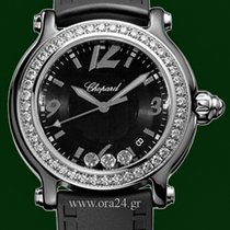 Chopard Happy Sport Classic Round 38mm Black Ceramic Diamonds