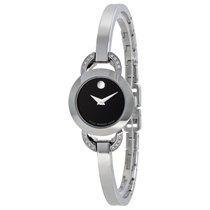 Movado Rondiro Black Dial Stainless Steel Bangle Ladies Watch...