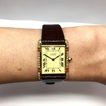 Cartier Tank Vermeil Gp Argent Ladies Watch W/ Diamonds &...