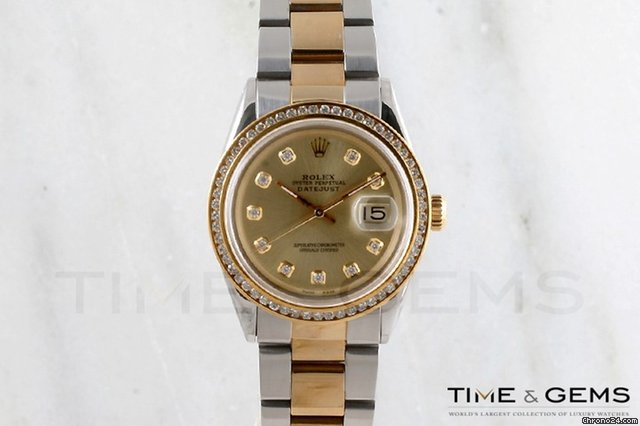 Rolex Two-Tone Champagne Diamond Dial Channel Set Bezel Oyster Band Datejust