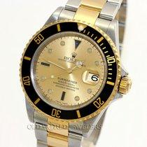 Rolex Submariner 16613 18K Gold Steel Serti Dial