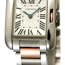 Cartier W5310036 Tank Anglaise Small Silver Dial Women Two...