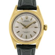Rolex Oyster Perpetual 6502 18k  Gold On Leather Band Watch