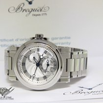 Breguet Marine Dual Time Stainless Steel Silver Dial Mens...