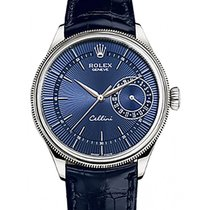 Rolex Cellini Time 50519 39mm Blue Guilloche Index White Gold...