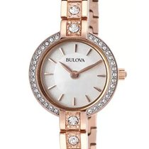 Bulova Crystals Rose Gold Plated Stainless Steel Womens Watch...