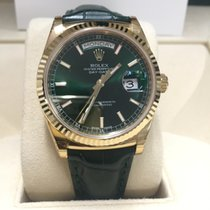 Rolex 118138 Day-Date President Yellow Gold Green Strap