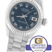 Rolex DateJust President Blue Roman 26mm 179179 18K White Gold