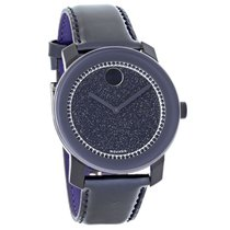 Movado Bold Mens Crystal Blue & Purple Leather Quartz...