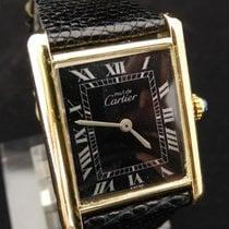 Cartier Must de Tank Roman Black  Dial 925 Silver Hand Wind
