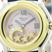 Chopard Polished Chopard Happy Sport Diamond 18k Gold Steel...
